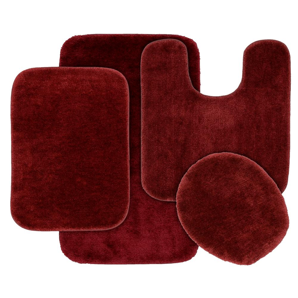 garland rug traditional 4 piece washable bathroom rug set in chili pepper red ba010w4p15i4 the. Black Bedroom Furniture Sets. Home Design Ideas