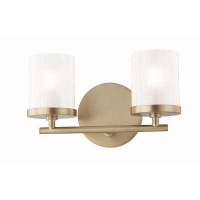 Ryan 2-Light Aged Brass Bath Light with Clear Frosted Glass Shade