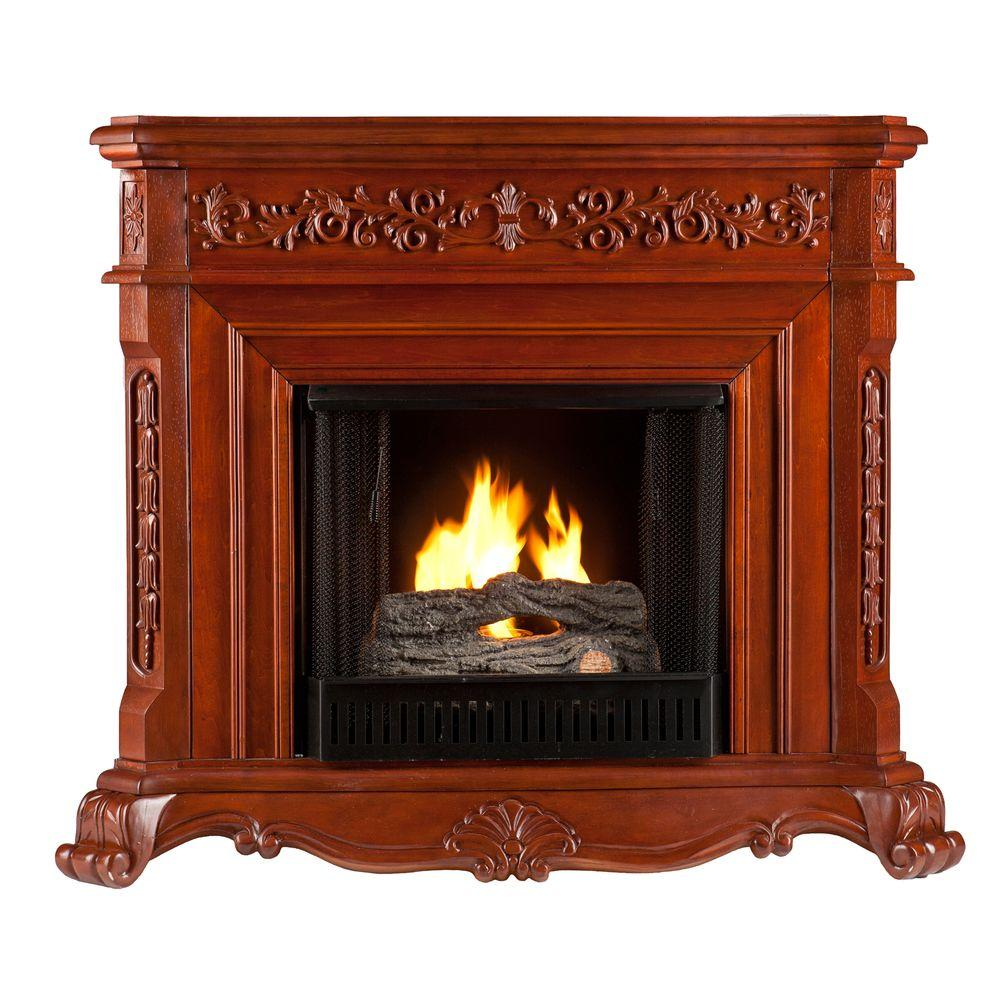 Southern Enterprises Hartley 49 in. Gel Fuel Fireplace in Classic Mahogany-DISCONTINUED