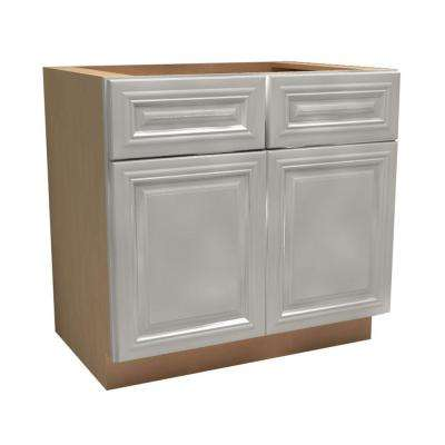 36x34.5x24 in. Coventry Assembled Deep Desk Base Cabinet with 2 Doors and 2 Drawers in Pacific White
