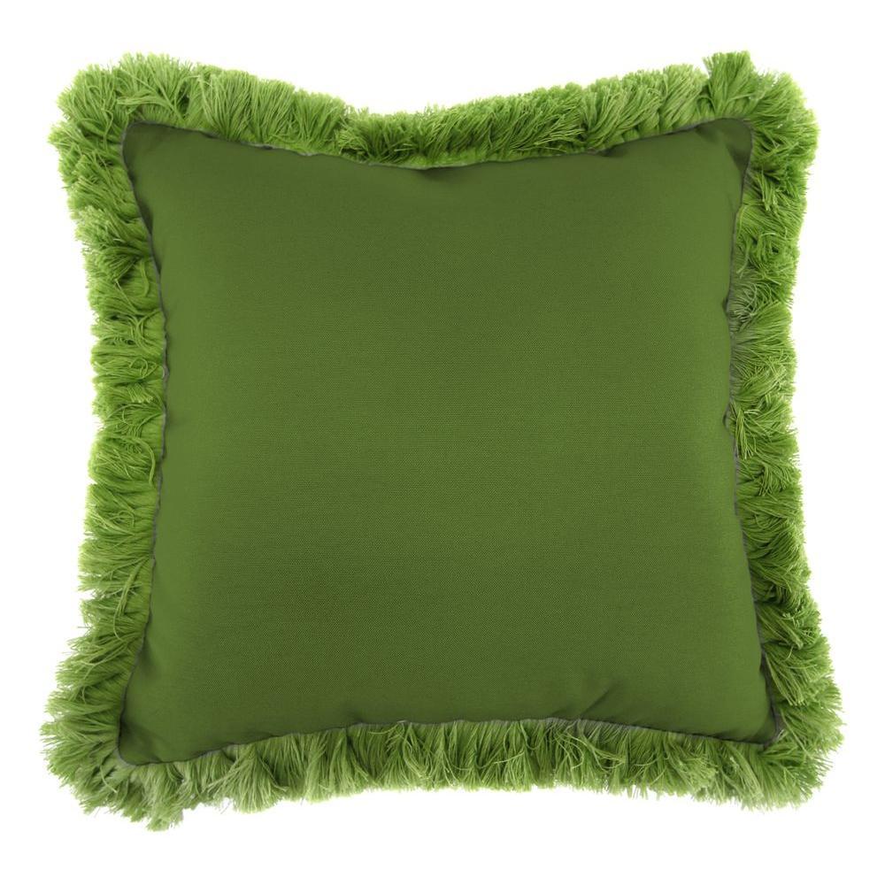 Sunbrella Spectrum Cilantro Square Outdoor Throw Pillow with Gingko Fringe