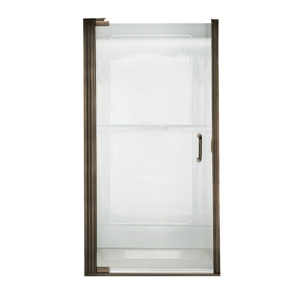 American Standard Euro 35-1/8 in. x 65-9/16 in. Semi-Framed Shower Door in Oil Rubbed Bronze with Clear Glass