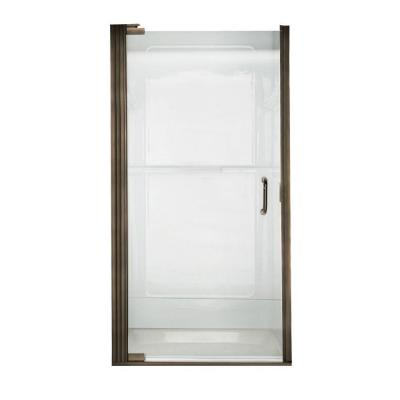 Euro 35-1/8 in. x 65-9/16 in. Semi-Framed Shower Door in Oil Rubbed Bronze with Clear Glass