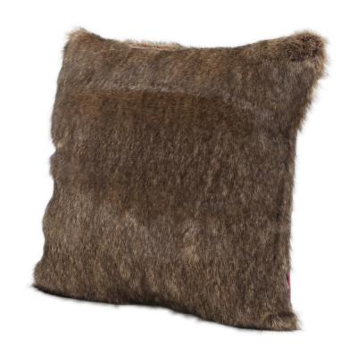 Lindsey Dark Brown Solid Polyester 18 in. x 18 in. Throw Pillow