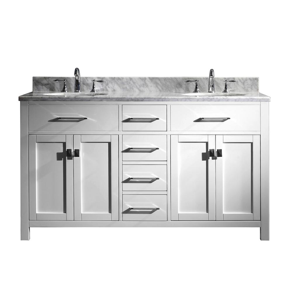 Virtu USA Caroline 60 in. W Bath Vanity in White with Marble Vanity Top in White with Round Basin