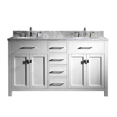 Caroline 60 in. W Bath Vanity in White with Marble Vanity Top in White with Round Basin