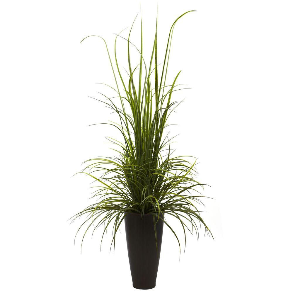 Nearly Natural 64 in. Indoor/Outdoor River Grass with Planter