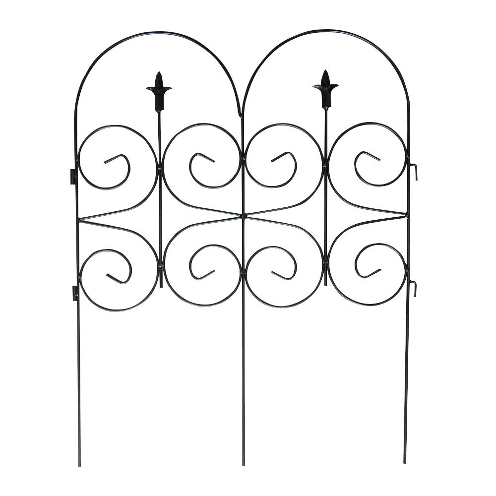32 in. H Black Solid Steel Wire Cambridge Garden Fence