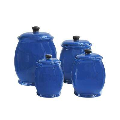 4-Piece Blue Stoneware Canister Set with Lid