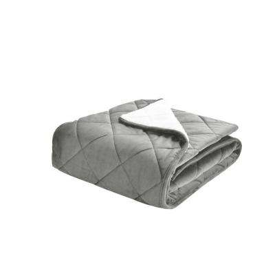 Velvet and Sherpa Foot Pocket Throw in Silver