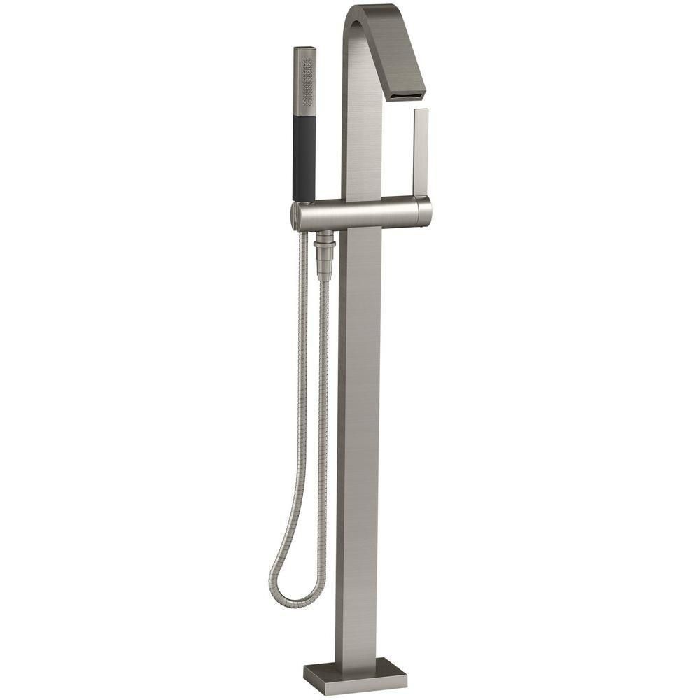 Loure 1-Handle Floor Mount Bath Filler with Hand Shower in Vibrant