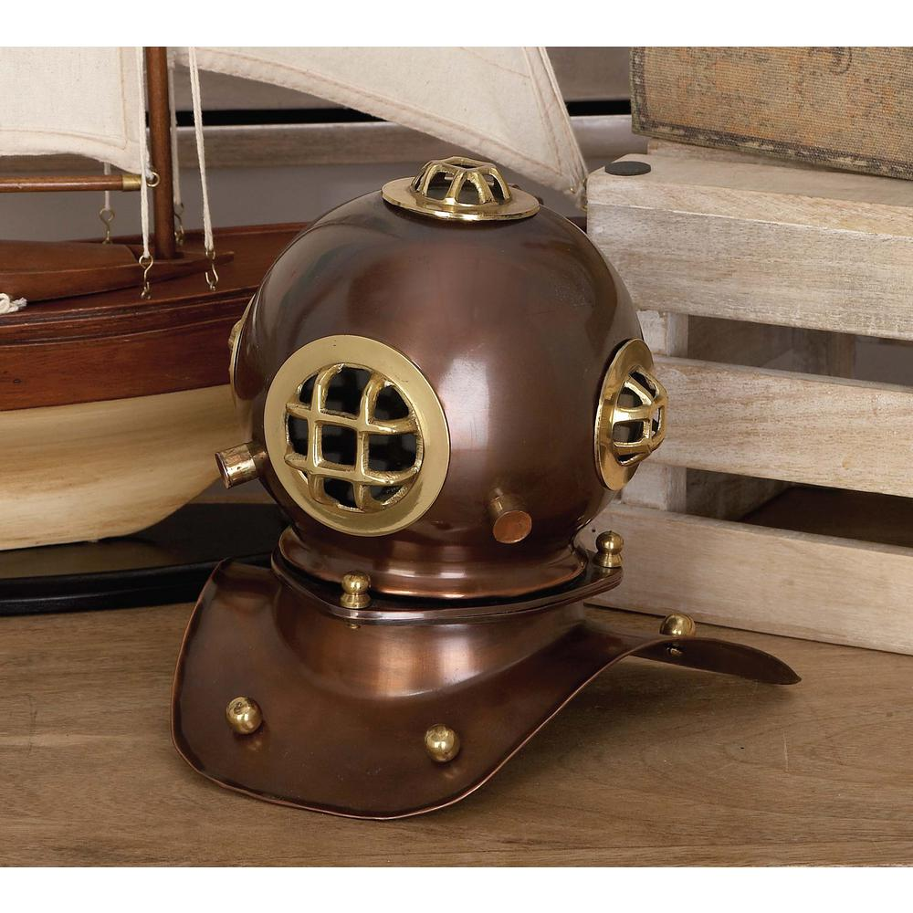 8 in. x 8 in. Decorative Diving Helmet Sculpture in Polished