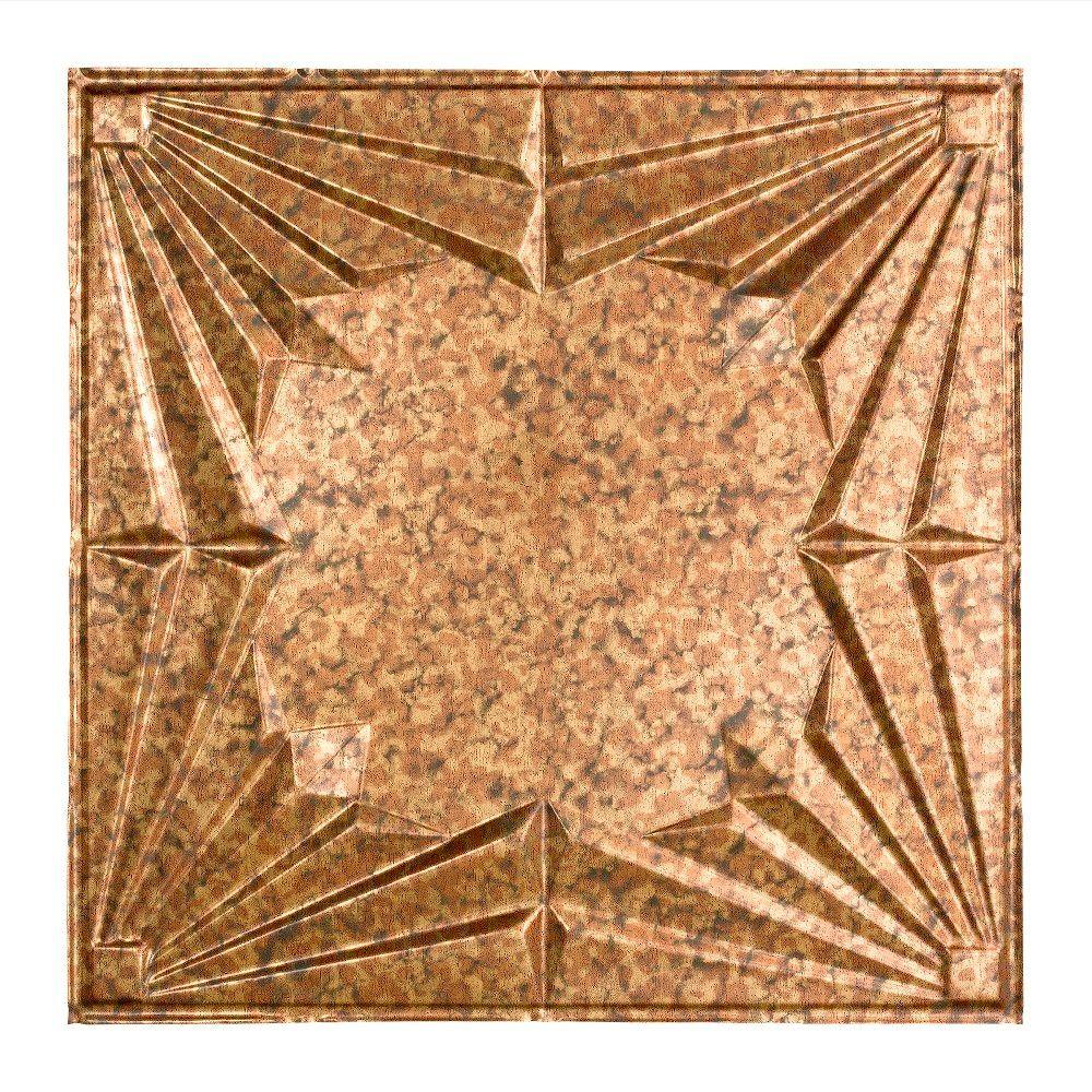 Fasade Art Deco - 2 ft. x 2 ft. Lay-in Ceiling Tile in Cracked Copper