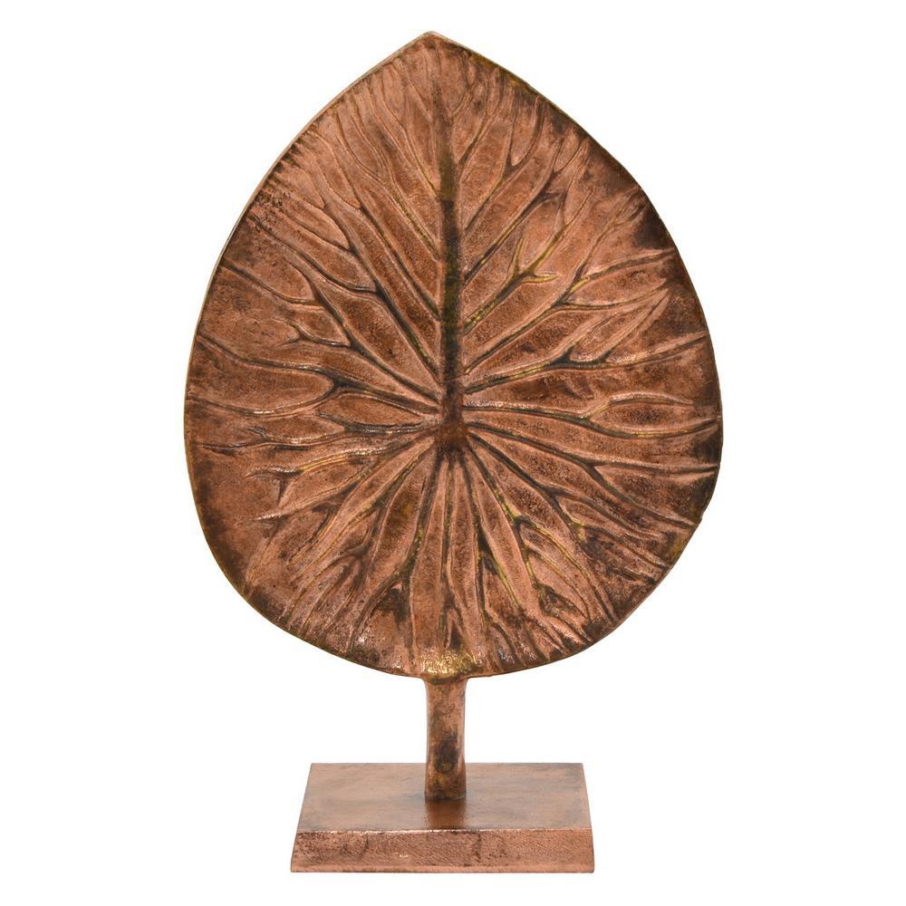 14 in. Metal Leaf Base Tabletop in Copper