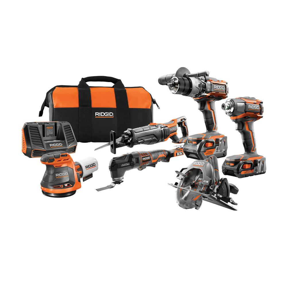 RIDGID 18-Volt Lithium-Ion Cordless 6-Piece Combo Kit with (1) 4.0 Ah Battery and (1) 2.0 Ah Battery, Charger, and Bag