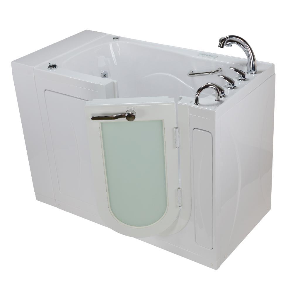 52 in. Malibu Premium Acrylic Walk-In Whirlpool and Air Tub in White