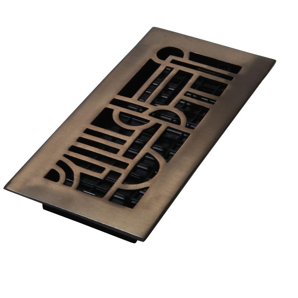 4 in. x 12 in. Solid Brass Rubbed Bronze Art Deco Design Floor Register