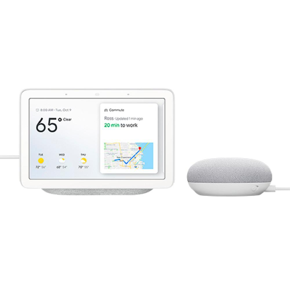 Google Nest Hub in Chalk with Google Home Mini in Chalk