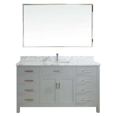 Kalize II 60 in. W x 22 in. D Vanity in Oxford Gray with Marble Vanity Top in Gray with White Basin and Mirror