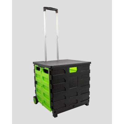 Foldable 60 Qt. Rolling Crate in Green/Black
