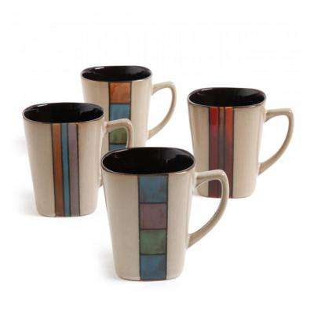 Cafe Melange 14 oz. Assorted Color Mugs (Set of 4)