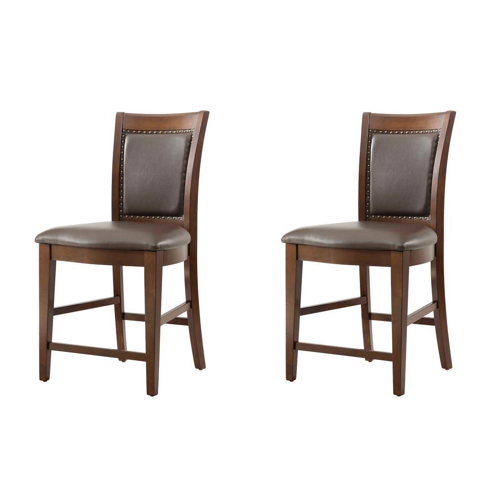 Pruitt Walnut Counter Side Chair Set