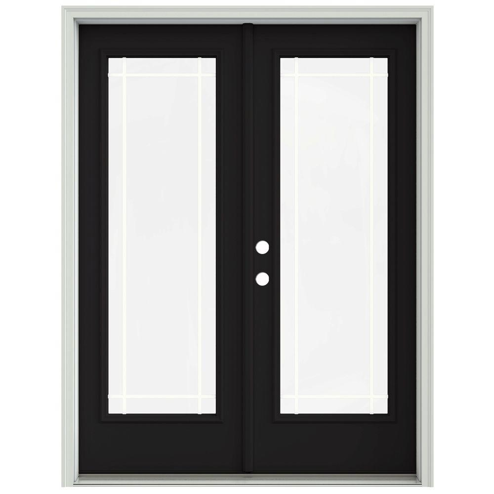Jeld Wen 60 In X 80 In Black Prehung Right Hand Inswing 9 Lite French Patio Door With