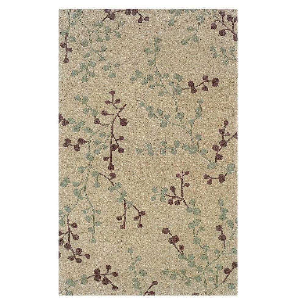 Linon Home Decor Trio Collection Beige and Blue 8 ft. x 10 ft. Indoor Area Rug