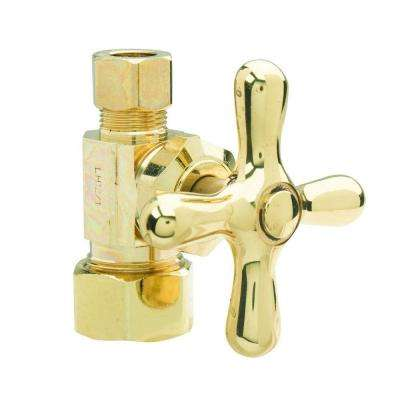 1/2 in. Nom Comp Inlet x 3/8 in. O.D. Comp Outlet Multi-Turn Straight Valve with Cross Handle in Polished Brass
