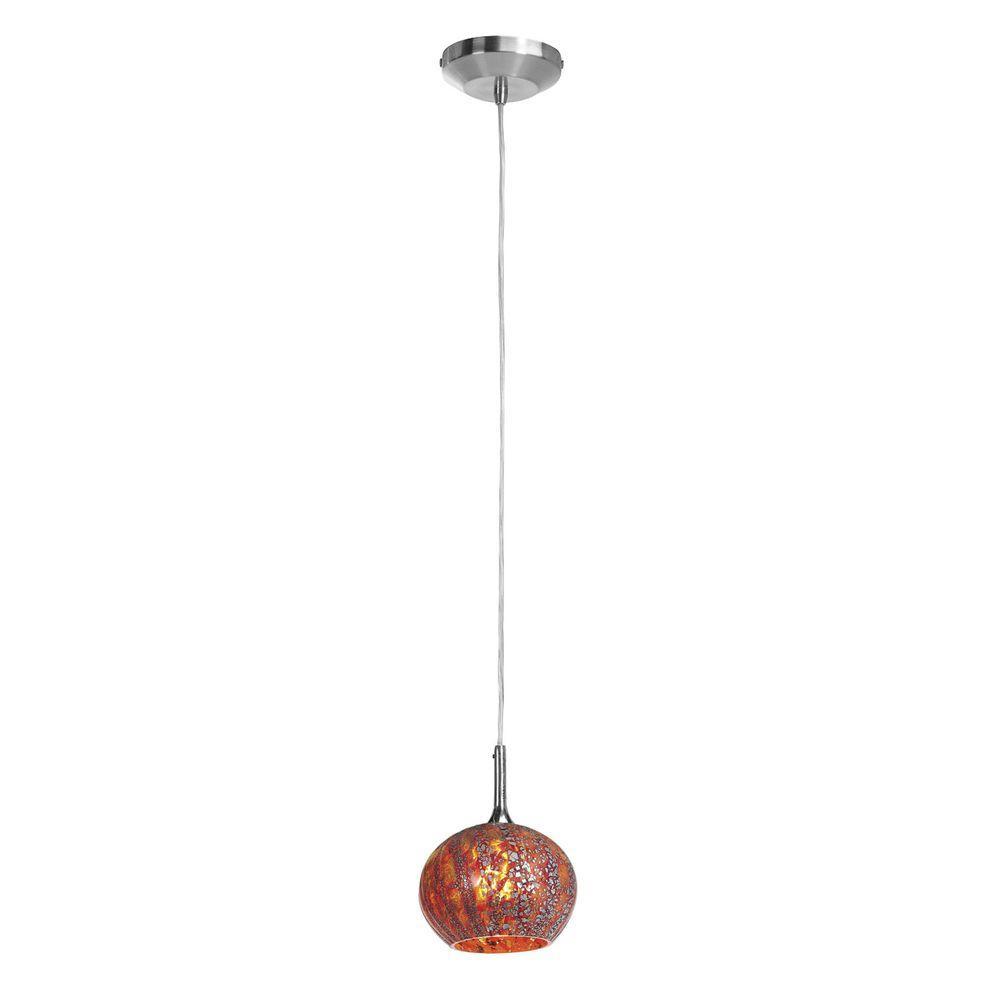 Filament Design Vista 1 Light Brushed Steel Halogen Pendant-DISCONTINUED