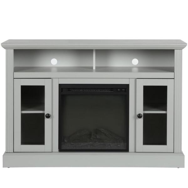 Ameriwood Nashville Dove Gray 50 in. TV Stand with Electric Fireplace