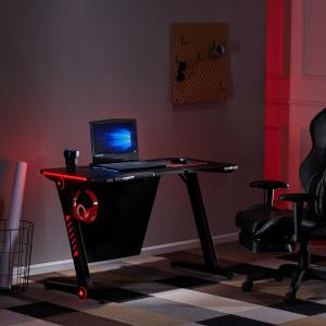 Merax Black Gaming Desk With Rgb Led Lights And Headphone