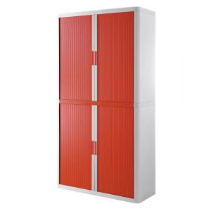 Paperflow easyOffice White and Red 80 in. Tall Storage Cabinet with 4-Shelves