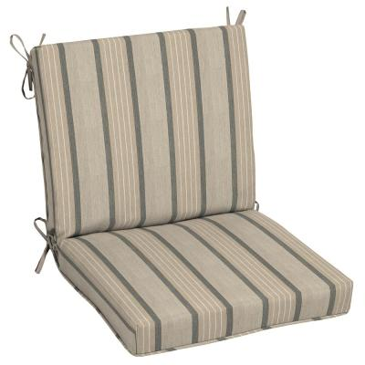 Oak Cliff 22 x 40 Sunbrella Cove Pebble Mid Back Outdoor Dining Chair Cushion