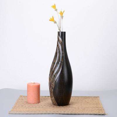 15 in. Tall Handmade Decorative Tear Drop Mango Wood Vase in Black