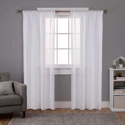 Santos Winter White Embellished Stripe Textured Linen Sheer Rod Pocket Top Window Curtain