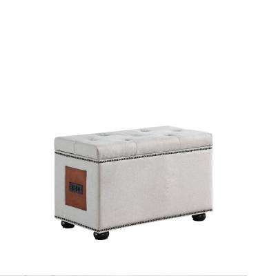 19 in. Khaki Brown Teri Tufted Nailheadttrim Storage Ottoman Bench with Charging Station