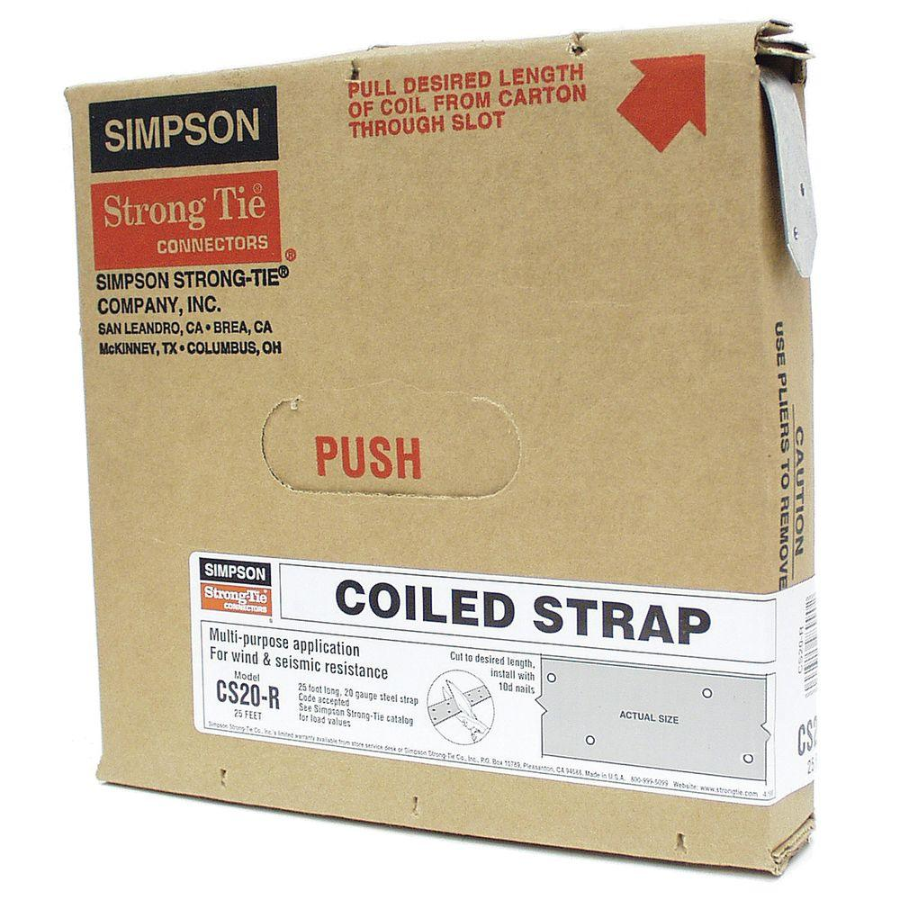 simpson strong tie 25 ft 20 gauge coiled strap cs20 r the home depot. Black Bedroom Furniture Sets. Home Design Ideas