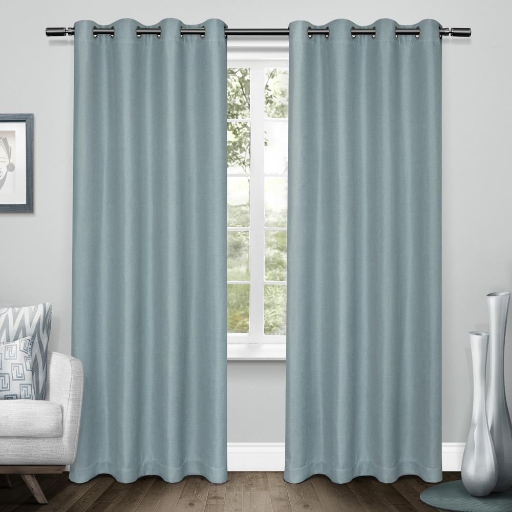 Tweed Turquoise Textured Linen Blackout Grommet Top Window Curtain