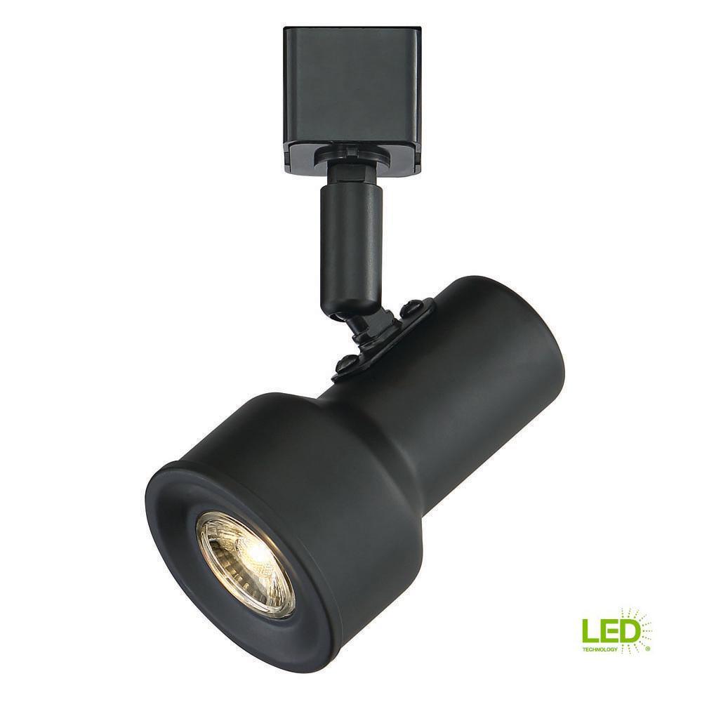 Envirolite Small Solid Black Step Cylinder Integrated Led Track Lighting Head