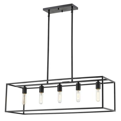 Cobar 5-Light Matte Black Island Pendant