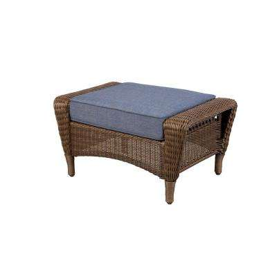 Spring Haven Brown All-Weather Wicker Patio Ottoman with Sky Blue Cushion