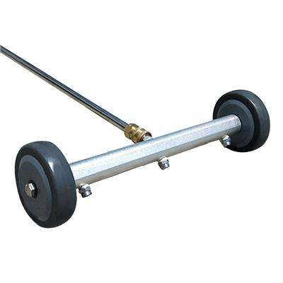 3 Jet Fixed Undercarriage Drive way Washing Broom Cleaner with 36 in. Extension Wand and Wheel Angle Board
