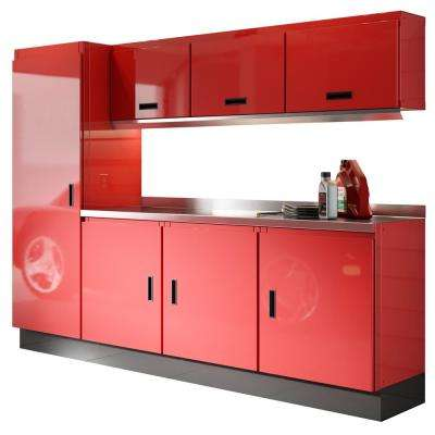 Select Series 75 in. H x 96 in. W x 22 in. D Aluminum Cabinet Set in Red with Stainless Steel Worktop (8-Piece)