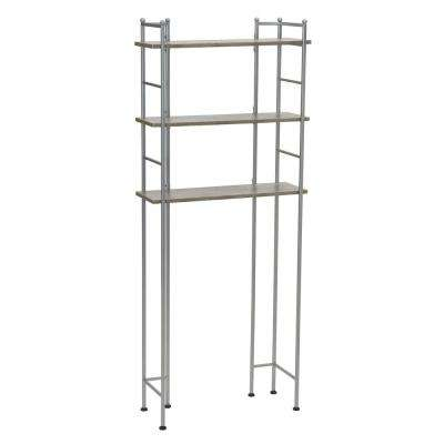 62.6 in. H x 26 in. W x 9.72 in. D, Steel frame with laminate shelves, Over-The-Toilet 3-Shelf Organizer