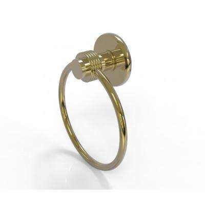 Mercury Collection Towel Ring with Groovy Accent in Unlacquered Brass