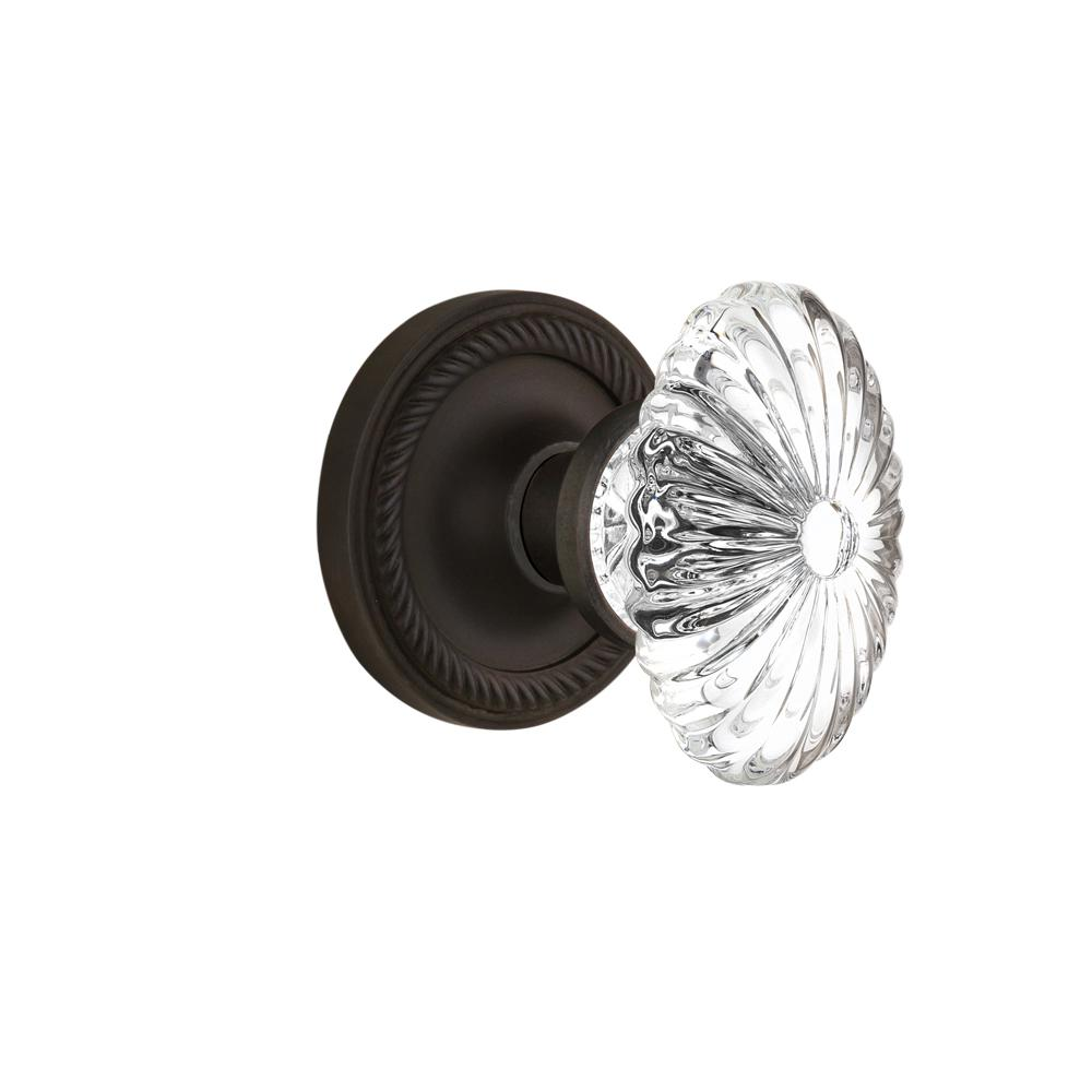Rope Rosette 2-3/4 in. Backset Oil-Rubbed Bronze Privacy Oval Fluted Crystal