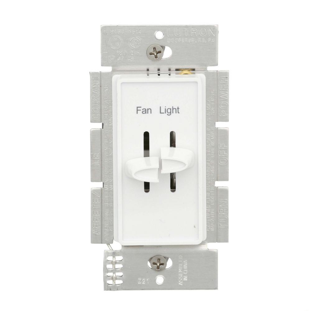 Lutron Skylark 1.5 Amp Single-Pole 3-Speed Combination Fan and Light  Control, White-S2-LFSQH-WH - The Home DepotThe Home Depot