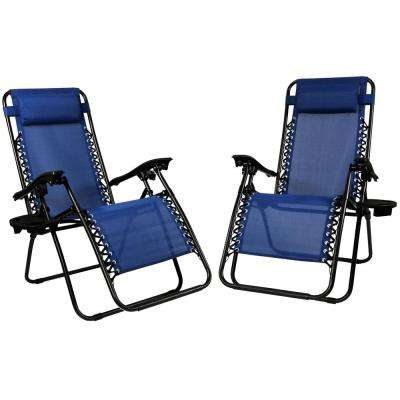 Zero Gravity Navy Blue Lawn Chairs with Pillow and Cup Holder (2-Set)