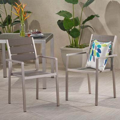 Cape Coral Silver Modern Aluminum and Faux Wood Outdoor Dining Chair in Grey (2-Pack)